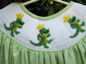 alligator smock closeup